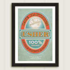 Usher Beer Label Personalised Wedding Print - best man & usher gifts