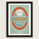 Usher Beer Label Personalised Wedding Print
