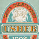 Usher Beer Label Personalised Print