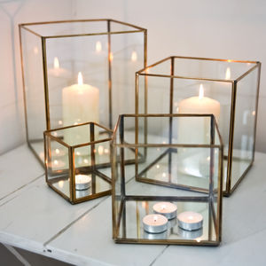 Glass And Brass Lantern - candles & candle holders