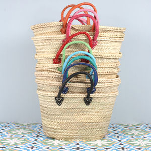 Handwoven Souk Basket With Coloured Handles