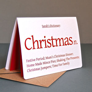 Personalised Christmas Dictionary Card