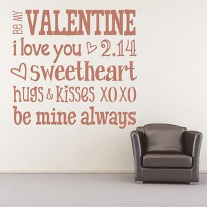 'Be My Valentine…' Wall Sticker
