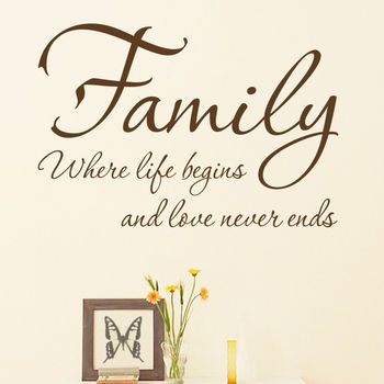 'Family Where Life Begins' Quote Wall Sticker