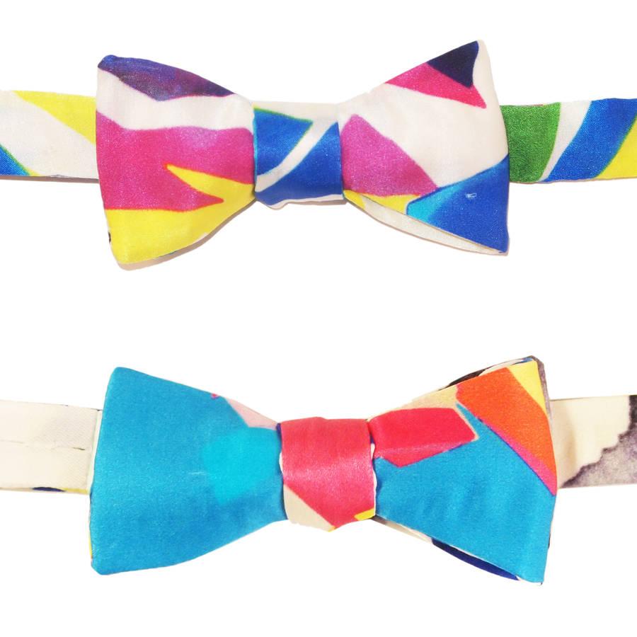 90s Pattern Reversible Bow Tie