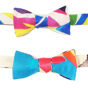 90s Pattern Reversible Bow Tie
