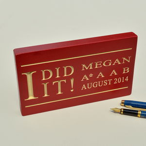 School Exam Success Engraved Wooden Block