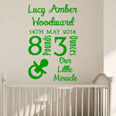 Personalised Dob Baby Wall Sticker