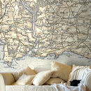 Personalised Vintage Map Wallpaper Colour