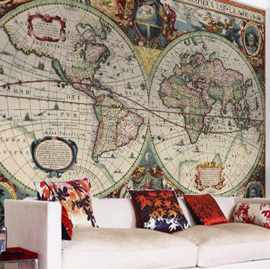Vintage hondius world map wallpaper by love maps on vintage hondius world map wallpaper sciox Image collections