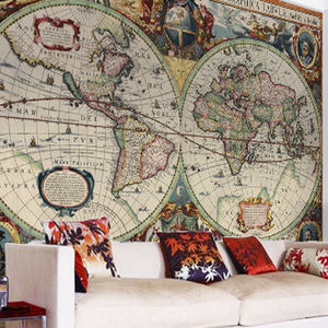 Vintage Hondius World Map Wallpaper - home decorating