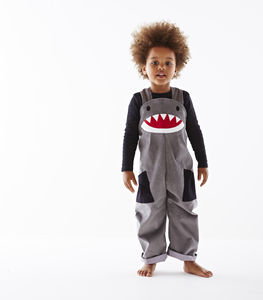 Child's Shark Dungarees Costume - pretend play & dressing up