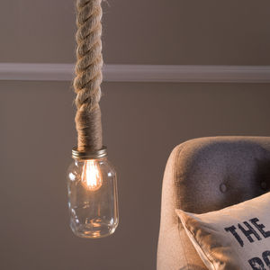 Kilner Jar Rope Pendant Light - ceiling lights