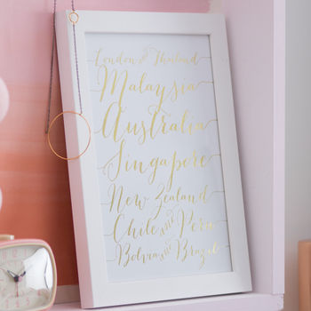 White Personalised Foil Calligraphy Destinations Art Print
