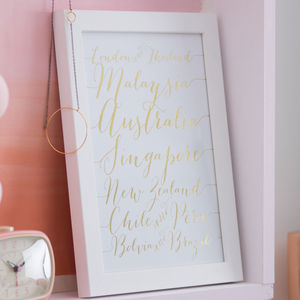 Personalised Foil Calligraphy Destinations Print