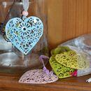Six Filigree Heart Decorations