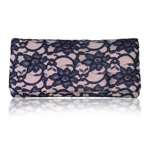 Astrid Nude And Navy Lace Clutch - women's accessories