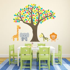 Jungle Tree And Safari Animals Wall Stickers - children's room