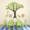 Jungle Tree And Safari Animals Wall Stickers