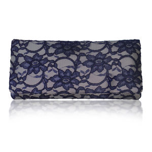 Astrid Grey And Navy Lace Clutch - bags & purses