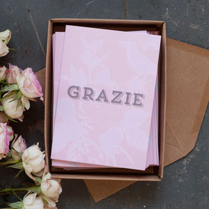 'Grazie' Set Of 10 Thank You Notecards