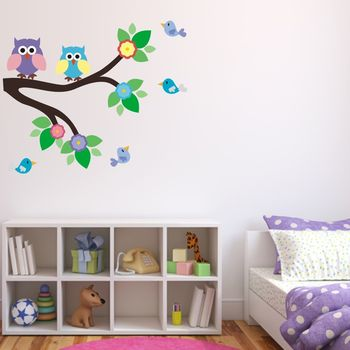 Owl And Birds On Branch Wall Sticker Set
