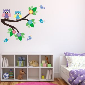 Owl And Birds On Branch Wall Sticker Set - wall stickers