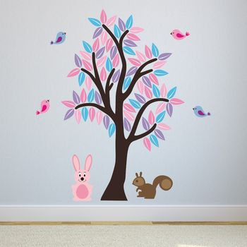 Girls Woodland Tree Wall Sticker