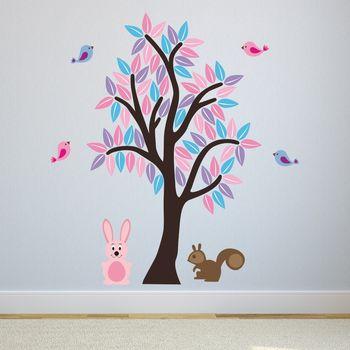 Girls Woodland Tree Wall Sticker