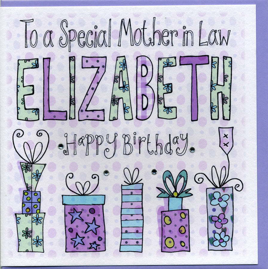 Personalised Mother In Law Birthday Card