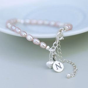 Personalised Seed Pearl And Silver Heart Bracelet - flower girl jewellery