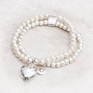 Carina Silver And Pearl Personalised Heart Bracelet - gifts for her
