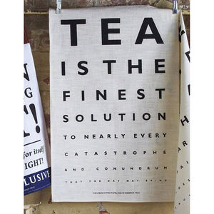 Tea Eye Test Linen Tea Towel