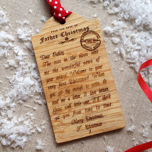 Bespoke Baby's First Christmas Wooden Tag Decoration - finishing touches