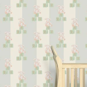 Rabbit And Blocks Nursery Wallpaper