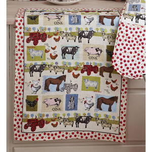 Down On The Farm Linen Tea Towel - kitchen accessories
