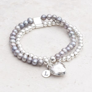Oria Silver Heart And Pearl Personalised Bracelet