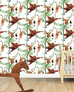Swinging Orangutans Child's Wallpaper - baby's room