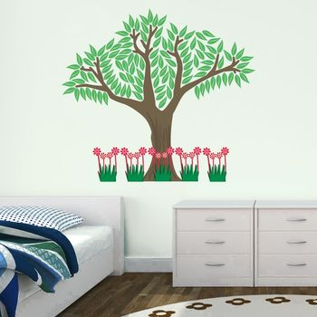 Woodland Tree With Flowers Wall Sticker