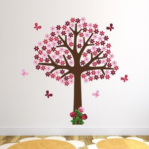 Pink Flower Tree Wall Sticker - wall stickers