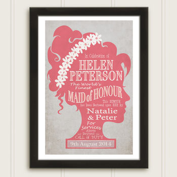 Maid Of Honour Personalised Print