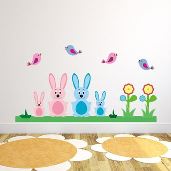Bunny Rabbits And Birds Wall Sticker