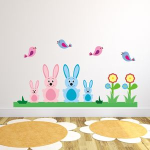 Bunny Rabbits And Birds Wall Sticker - view all sale items