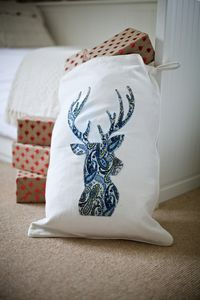 Personalised Winter White Blue Paisley Reindeer Sack - stockings & sacks