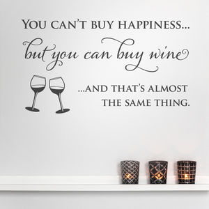 Wine And Happiness Quote Wall Sticker - wall stickers