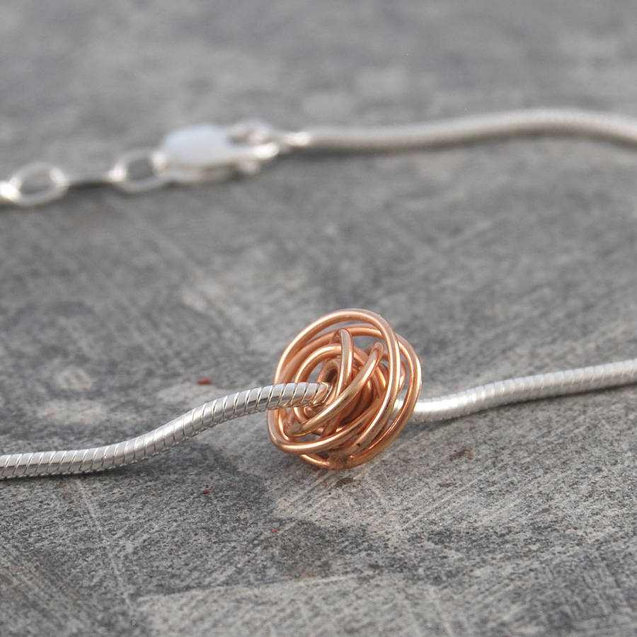Wire Bracelets With Charms 2: Ball Charm Rose Gold Wire Wrapped Bracelet By Otis Jaxon