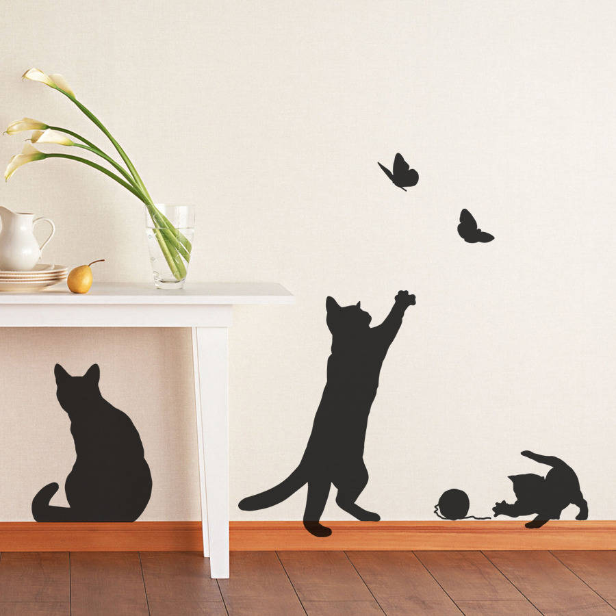 Cat silhouette wall decals wall murals ideas cats and kittens wall stickers by making statements amipublicfo Image collections