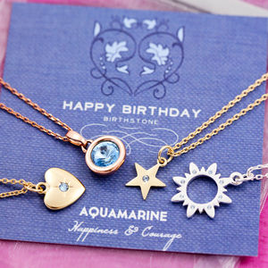 Birthstone Charm Necklace On Gift Card - women's jewellery