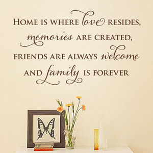 'Home Is' Quote Wall Sticker - wall stickers