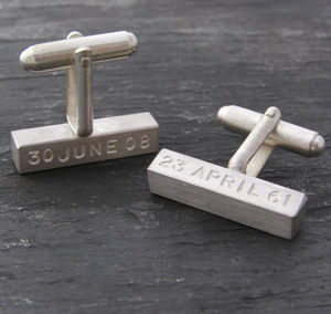Chunky Silver Personalised Bar Cuff Links